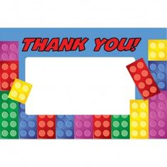 Lego Party Supplies, Brick Party Thank You Notes, Party Invitations