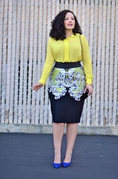 DO NOT BE AFTAID OF PATTERNS. Of course like anything, you've got to find what works and what doesn't. But patterns can actually camouflage problem areas, and accentuating the waist is always a good idea for pear and hourglass bodies. The skirt is a great length, I always say midi skirts should never be more than 2 inches below or above the knee. And added a fluffy feminine top (LOVE chiffon) in one of the colors of the pattern is great!