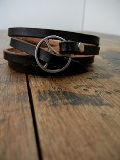 Leather Wrap Bracelet in Black leather with silver by Fullofcraft, $39.00