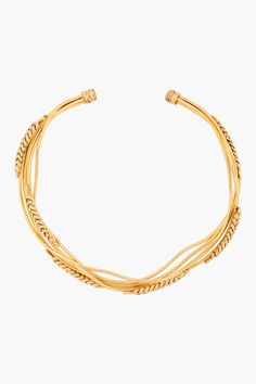 Aurlie Bidermann Yellow Gold_plated Wheat Necklace -  Aurlie Bidermann Yellow Gold_plated Wheat Necklace Aurlie Bidermann Curved collar necklace plated in 18k yellow gold. Interweaving stalks with carved heads of wheat throughout. Bound at ends. Approx. 6 width. 6 depth. Price $665.00 Click HERE for more Information