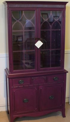 Vintage china cabinet painted in General Finishes Evening Plum Milk Paint, glazed with GF Pitch Black Glaze Effects (our current favorite!), and finished with GF High Performance Top Coat.