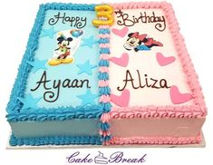 This beautiful square Mickey and Minnie Mouse Cake is so delicious that it will leave all the guests just wanting for more. The cake is downright eggless. Square Birthday Cake, Half Birthday Cakes, Minnie Mouse Birthday Cakes, Mickey Birthday, Birthday Cake For Twins, Pastel Mickey, Mickey And Minnie Cake, Mickey Cakes, Twin Birthday Themes