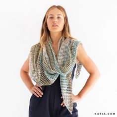 Model / Pattern of Shawl of Woman of Spring / Summer from KATIA Crochet Shawl Free, Crochet Scarves, Crochet Hooks, Shawl Patterns, Crochet Patterns, Chain Stitch, Lana, Free Pattern, Spring Summer