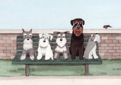 Schnauzers fill a bench at city park / Lynch signed folk art print. $12.99, via Etsy.