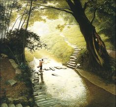 Contryside paitings by 1947 born chinese artist Jian Chong