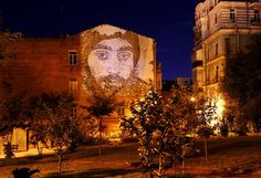 A portrait of Serhiy Nigoyan by Portuguese artist Alexandre Farto, known as Vhils. Nigoyan was the first person to be shot dead in the Euromaidan protests on the 22 January 2014. His father spoke of his pride at seeing the portrait, thanking 'everyone who respects, participated, and strove in his memory.'