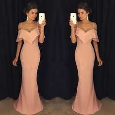 Simple Plain Mermaid Prom Dresses Off-the-Shoulder Spaghettis Straps Ruffles Evening Gowns_Wholesale Wedding Dresses, Lace Prom Dresses, Long Formal Dresses, Affordable Prom Dresses - High Quality Wedding Dresses - Yesbabyonline.com