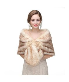 KAXIDY Ladies Faux Fur Shawls Wraps Girls Ponchos Capes Women Coat Elegant Shawl
