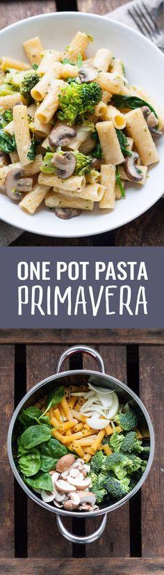Gesundes Vegetarisches Pasta Rezept - One Pot Pasta Primavera. Für dieses 15-Minuten Rezept braucht ihr nur einen Topf und neun Zutaten❤️