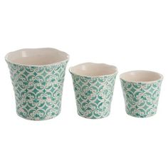 Set of 3 Oriental Terracotta Flowerpots, Green | ACHICA