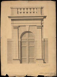 [Portada de edificio civil rematado con balaustrada]. Moreno, José María fl. 1825 — Dibujo — 1800-1899?
