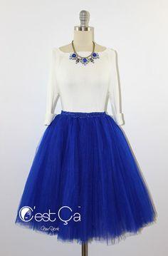 Cassie Tulle Skirt Royal Blue Tulle Skirt Cobalt Blue by CestCaNY