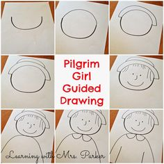 A step by step visual guide of how to draw a Pilgrim boy and girl as well as a Native American boy and girl. Thanksgiving Drawings, Thanksgiving Art Projects, Thanksgiving Preschool, Fall Preschool, Thanksgiving Placemats, Fall Projects, Pilgrims And Indians, Kindergarten Art Projects, Art Classroom