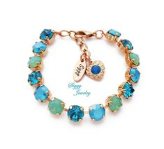 9283cda56 Swarovski® Crystal Bracelet, Opal Jubilee, Pacific Opals, Sea foam Green,  Mint Opal, Teal Blue, Assorted Finishes and Lengths, Gift Packaged