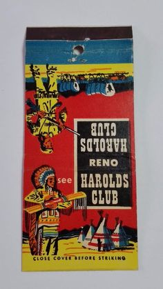 RENO HAROLDS CLUB RENO 30 STICK #MatchBook Cover To order your Business' own personalized #matchbooks or #matchboxes GoTo: www.GetMatches.com or Call 800.605.7331 today!