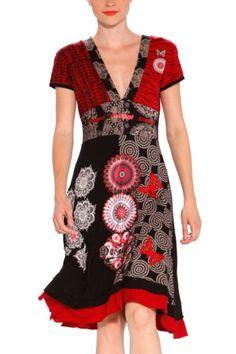 Vestito desigual rosso e nero