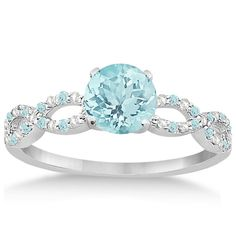 Diamond and Aquamarine Infinity Engagement Ring 14K by Allurez, $1344.00