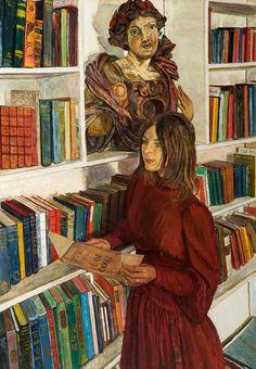 A biblioteca, 1971 Carel Weight (Grã-Bretanha, 1908-1997) Óleo sobre tela, 46 x 32 cm Col. Rochdale Arts & Heritage Service