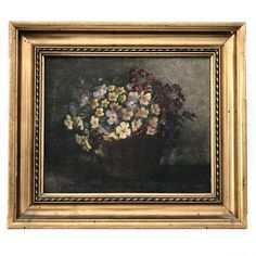 A bunch of delicate flowers sit collected in a basket; the colour & form of the petals are the highlight of this painting which are beautifully set off against the. Floral Paintings, Vintage Art, Still Life, Oil On Canvas, The Darkest, Delicate, Basket, Antiques, Frame