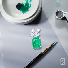 Extraordinary jewels transformed into works of fine art. A stunning emerald accented by a brilliant #diamond cluster. Only at #HarryWinston. #HighJewelry