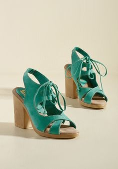 <p>Once you experience the profound impact these turquoise pumps have on your wardrobe rotation, you'll ensure they stay at the front of your footwear picks! Between their cutout uppers, sleek laces, and lightweight, wood-inspired block heels, these kicks speak fondly on behalf of your bold style choices.</p>