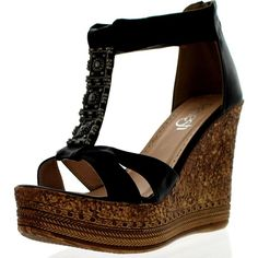 86ccd7a77 Refresh Grita-01 Women s Beaded Platform Ankle Strap Cork Wedge Heel... ( ·  Black Platform SandalsBlack ...