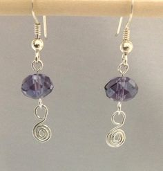 Sterling silver Spiral Earring with a crystal by OritWhiteLight