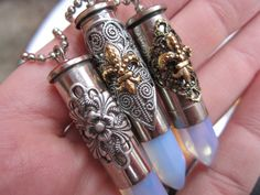 Bullet Opal & Metal Collage Pendant - Opalite Tip with Layered Metal Charm, Handmade Bullet Jewelry Pendant Pendant Jewelry, Diy Jewelry, Gemstone Jewelry, Jewelry Making, Jewelry Ideas, Pendant Necklace, Jewellery, Shotgun Shell Jewelry, Shotgun Shells