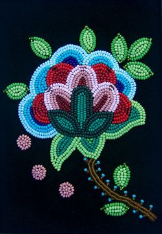 Floral beadwork became a trademark of the Métis, and the elaborate beadwork dis. - Floral beadwork became a trademark of the Métis, and the elaborate beadwork displayed on this purs - Beaded Flowers Patterns, Native Beading Patterns, Beadwork Designs, Indian Beadwork, Native Beadwork, Native American Beadwork, Bordados Tambour, Broderie Simple, Native American Crafts