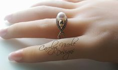Pearl Skull Engagement Ring by Carolyn Nicole Designs