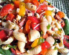 Antipasto Pasta Salad for Summer.  A light supper, make ahead dish or great potluck dish from www.FlavorMosaic.com.   Adapted from Allrecipes.com.
