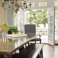 Birch Grove, MN | Martha O'Hara Interiors. Nice French Doors and lots of windows off of kitchen. #KitchenDesigns