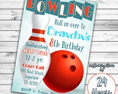 Chalkboard Bowling Party Invitations  Birthday Invitations