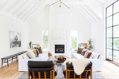mid-century leather in a laid-back, boho cool Californian home. Amber Interiors.