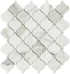 Calacatta Gold Marble Polished Arabesque Mosaic Tile; shower pan