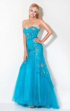 Reasonable Mermaid Floor-length Sweetheart Blue Organza Dress