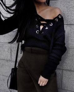 Obsessing over lace up sweaters ! Did a quick blog post on where you can shop this trend on Tsarin.com  #laceupsweaters
