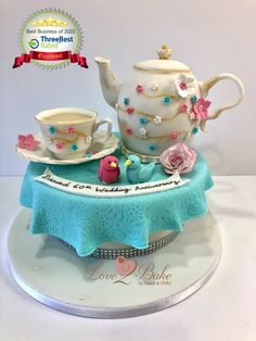 Afternoon tea cake - teapot cake - June 2020 Afternoon Tea Cakes, Teapot Cake, Cake Business, Cake Makers, Novelty Cakes, Homemade Cakes, Tea Pots, June, Birthday Cake