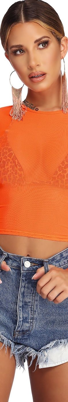 ❈Téa Tosh❈ #windsorstore  #teatosh Windsor Store, Orange Color, Orange Shades, Orange Crush, Love And Light, Blue Denim, Denim Shorts, Jeans, Crochet Top