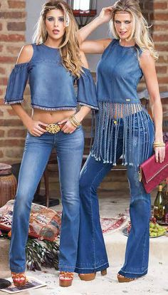 Denim outfits, Love the fringed top 💋 Find this season's must-have designer dresses, jeans, tops, jackets & more from top designer brands!Rock The Spring With Denim And Denim - Fashion Best Way Wearing Denim for Spring - Fashiotopia Denim Fashion, Boho Fashion, Fashion Outfits, Womens Fashion, Denim Outfits, Fashion Design, Mode Hippie, Mode Boho, Denim Top
