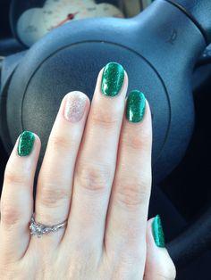 green & silver gelish nails
