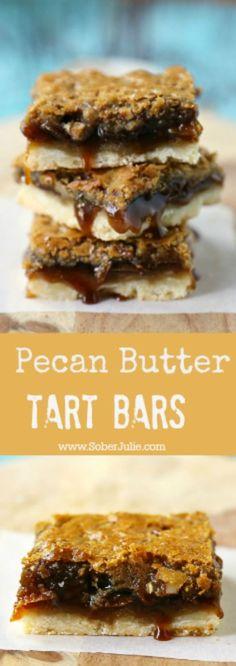 Pecan Butter Tart Bars recipe. Butter tart filling on a short bread crust - a delicious dessert square.