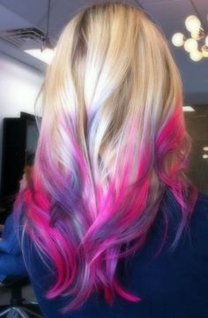 Cotton Candy Ombre - love your hair, hair chalk, temporary dye (multicolor blonde, pink and purple hair dipped, long layered hairstyle) Pink Purple Hair, Purple Tips, Purple Ombre, Purple Streaks, Purple Highlights, Violet Ombre, Magenta, Pink Blue, Pastel Hair