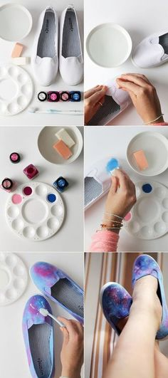 DIY galaxy sneakers - > To get the perfect galaxy with constellations on your shoes, press toothbrush bristles onto the shoe. Shoe Crafts, Diy And Crafts, Diy Galaxie, Tutorial Diy, Diy Accessoires, Hand Painted Shoes, Shoe Art, Diy Clothing, Diy Projects To Try