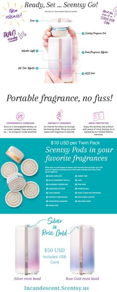 Try the New Scentsy Go Portable Battery Operated Fragrance System - New in the Fall 2017 Catalog. Rechargeable USB Battery and Scentsy Fragrance Pods. Or Rose, Rose Gold, Scentsy Diffuser, Are Essential Oils Safe, Pop Cans, Massage Techniques, Sell Gold, Continuing Education, Skin Care