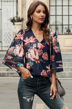 Plus Size Blouses, Kimono Fashion, Chiffon Tops, Blouses For Women, Clothes, Loose Fit, Pattern Print, Size Chart, Shirts