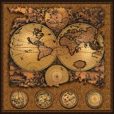 "Cartographia 3 Antique map 20""x20"" - This antique wall map features the world broken into eastern and western hemispheres. - Shop Online at WorldOfMaps.com"