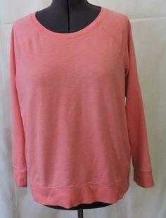 Sonoma Women Scoop Neck Pink Coral Sweat Shirt Size XL #Sonoma #SweatshirtCrew