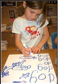 "Quick writes build fluency. The word ""dog is one of our handwriting anchor words and our high-frequency ""heart words"".  Children learn to draw dogs and make books about animals. Learning how to draw supports the writing process."