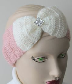 Crocheted Pink Headband With Cream Big Bow and by BYBERRDESIGNS, $18.25